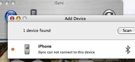 iSync can't sync with the iPhone, although it does see it as a generic handset.