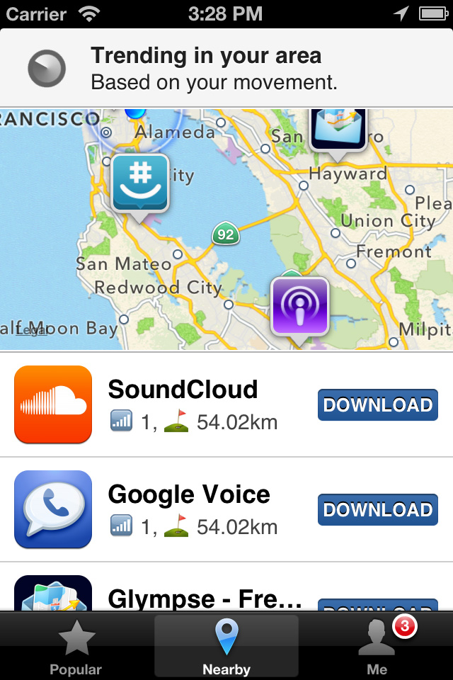 Screenshot of App Map showing what Apps are nearby on an iPhone.