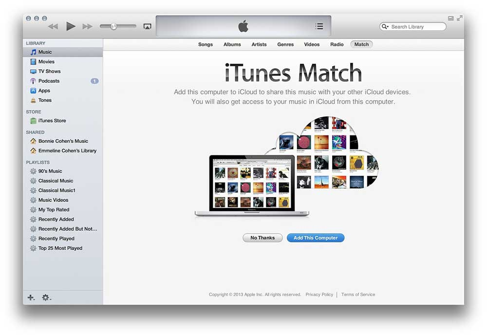 Adding an iTunes Library to iTunes Match, Apple's online cloud-based music syncing system