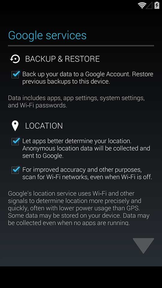 Nexus 5 backup configuration on Android 4.4 KitKat
