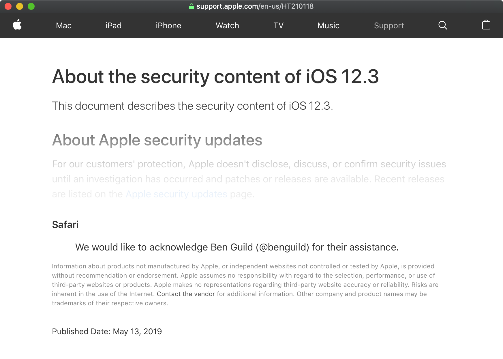 A screenshot of Apple's article regarding the security content in yesterday's iOS 12.3 release.