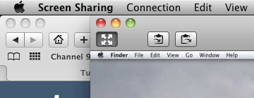 "Screenshot of Mac OS X's built-in ""Screen Sharing"" application's toolbar, which is very similar to the one in Apple Remote Desktop."