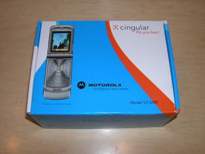 A Cingular wireless Motorola RAZR V3 cellular phone in its oriignal box in 2004.
