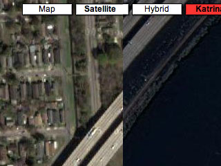 "Google Maps displaying damage from ""Hurricane Katrina""."