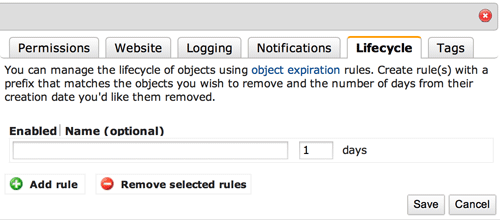 "Screnshot of adjusting the ""Lifecycle"" of items on Amazon S3 to purge them quickly and easily."