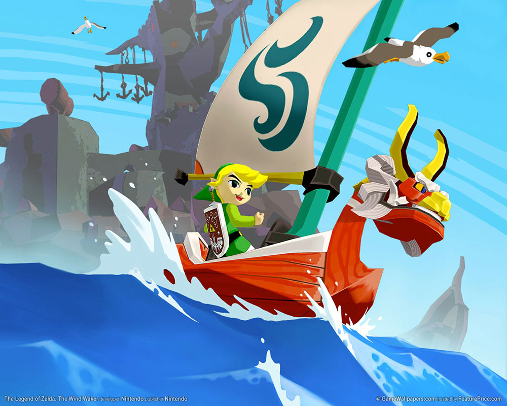 "Screenshot of ""The Legend of Zelda: The Wind Waker"" running on a Nintendo GameCube console."