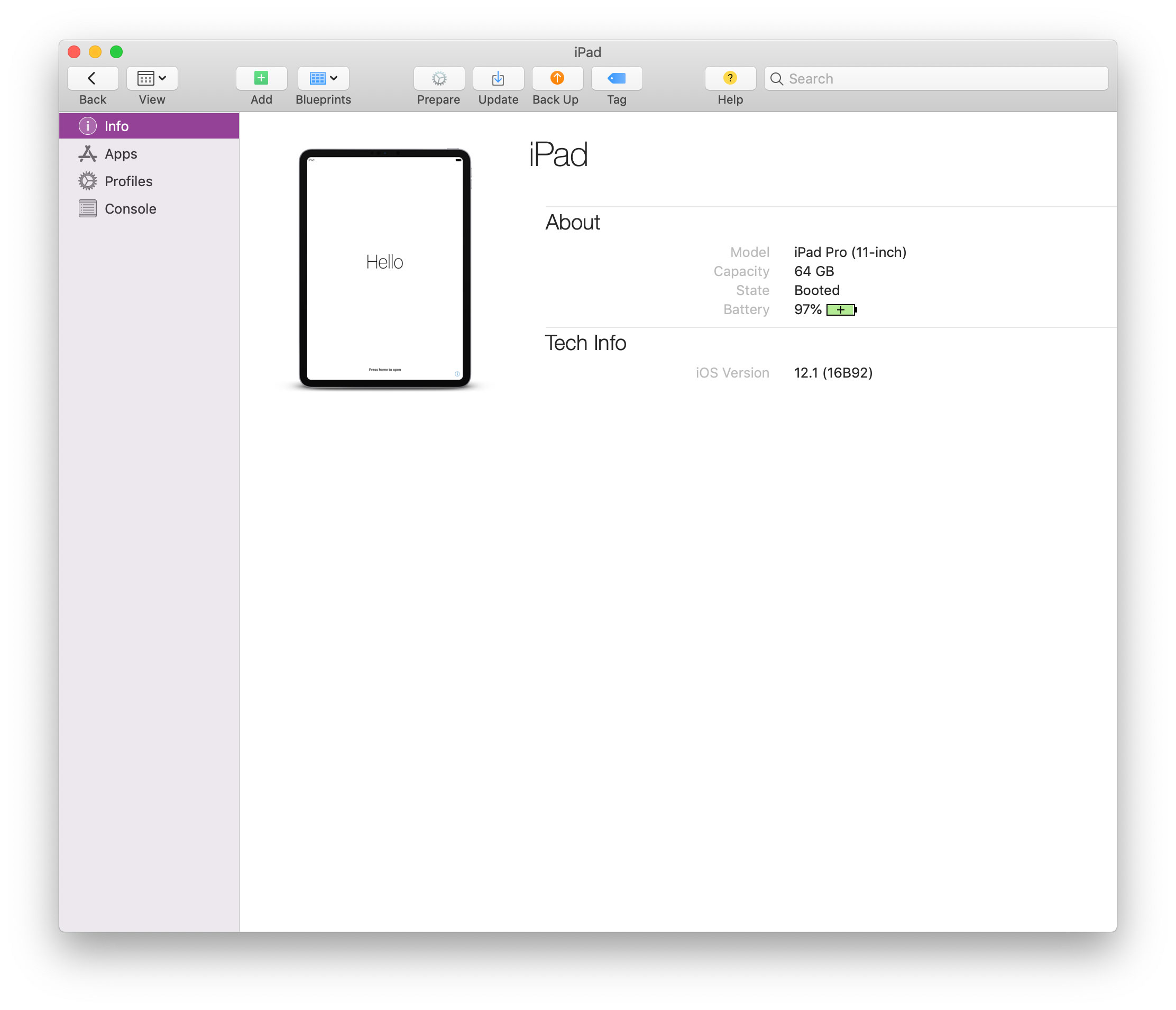 An iPad, ready for configuration in Apple Configurator.