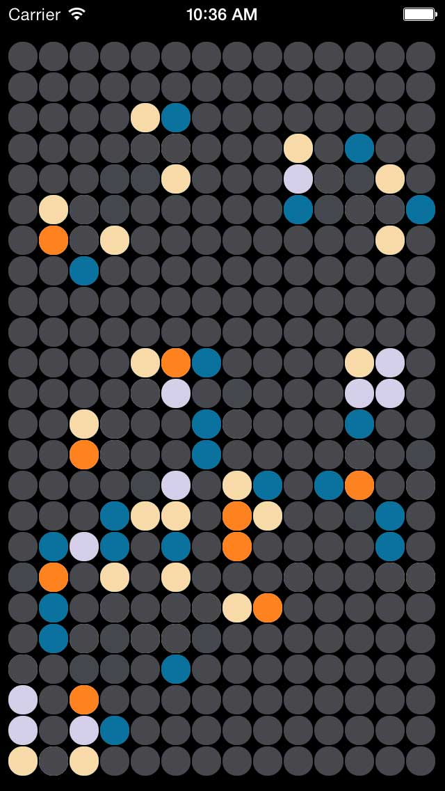 LifeSim, based on Conway's Game of Life and built stylishly for the iPhone/iPad and iOS 7