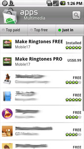 Mobile17 app on Android Market