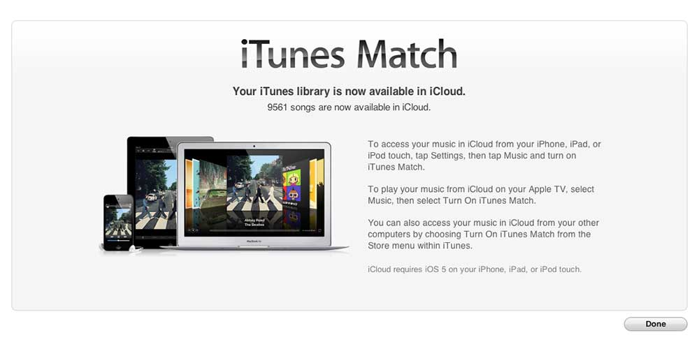 iTunes Match completed within iTunes on a Mac