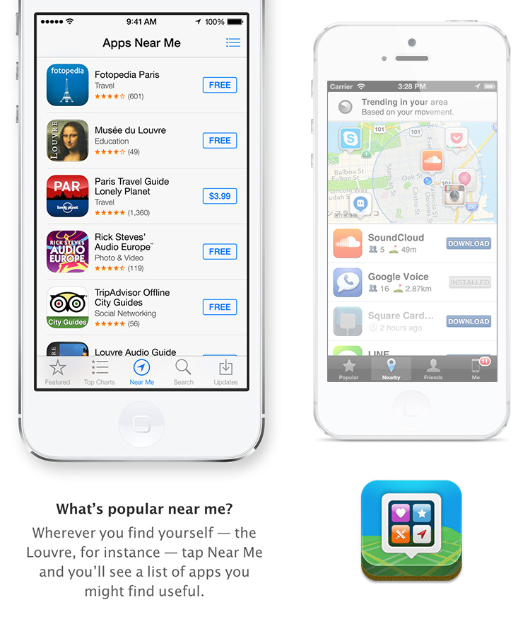 "Apple's ""Apps Near Me"" compared with App Map"