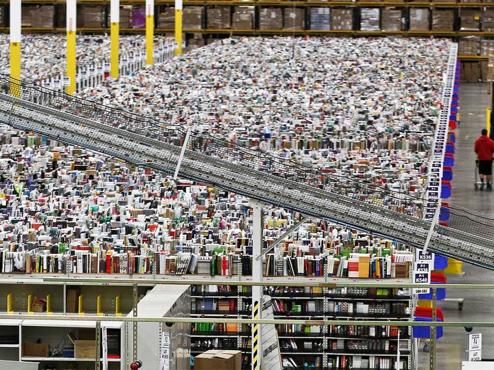 Photo of the inside of Amazon's warehouse