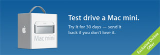 "Promo image for Apple's new campaign, ""Test drive a Mac Mini."""
