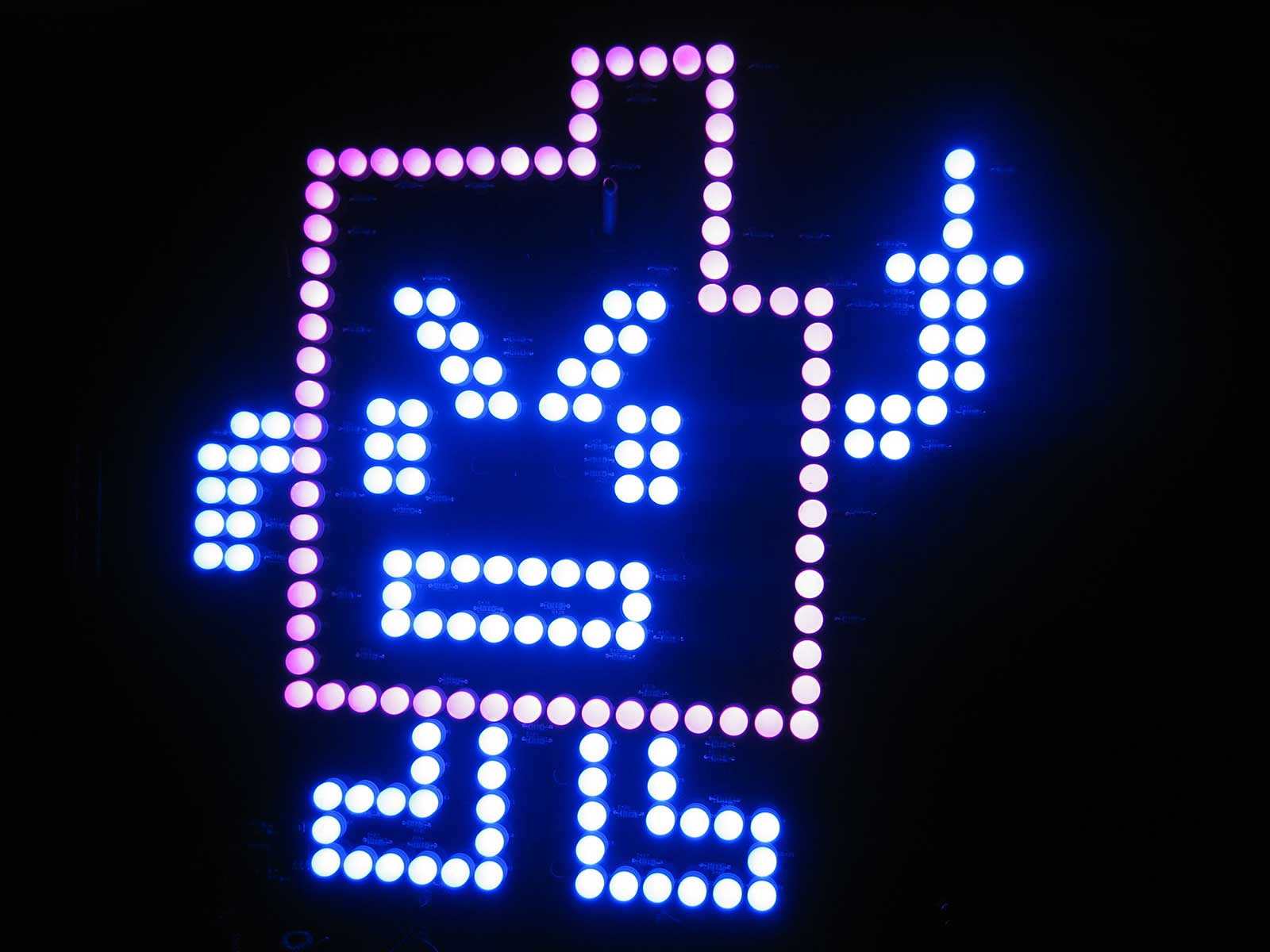 "Blue and Pink ""Err"" Mooninite (Aqua Teen Hunger Force) LED sign"
