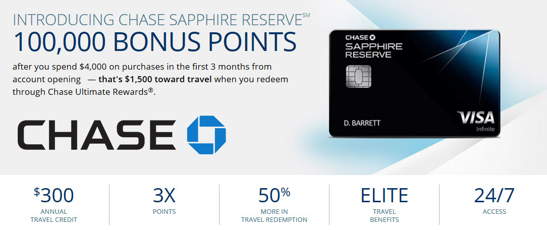 One of the past promotions for the Chase Sapphire Reserve Card.