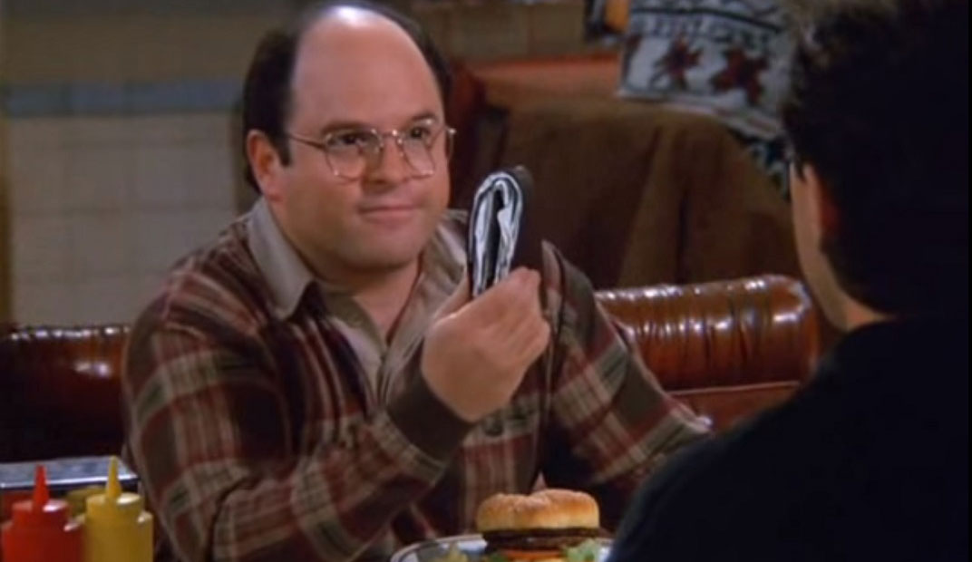 George Costanza's enormously overstuffed wallet, a memorable subtopic in Seinfeld.