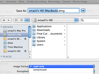 Setting options for a disk image being created with Disk Utility on a Mac.