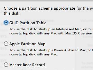 "Choosing the ""GUID Partition Table"" for a drive in Disk Utility on a Mac."