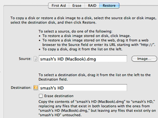 Restoring a disk image to a replacement hard disk drive With Disk Utility on a Mac.